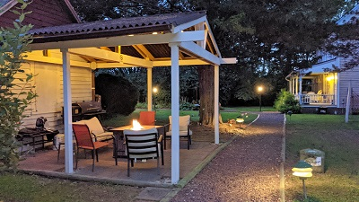 Relax under a gazebo by the fire